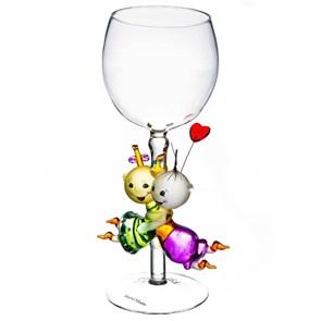"""Винный бокал из стекла ручной работы """"Счастье"""""""