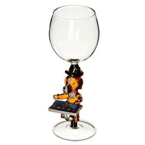 """Винный бокал из стекла ручной работы """"Собака Ipad"""""""