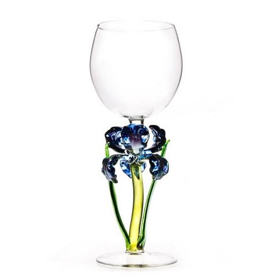 """Винный бокал из стекла ручной работы """"Фиолетовый Ирис"""""""