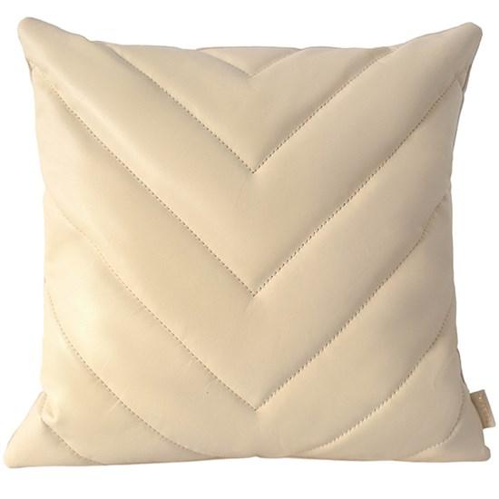 """Кожаный чехол для подушки с наполнителем """"Геометрия"""", цвет молочный"""