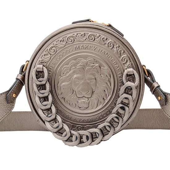 Кожаная женская сумка Royal с художественной вставкой, цвет серебро