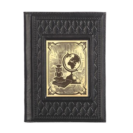 """Кожаная обложка для паспорта """"Учителю-2"""" с накладкой покрытой золотом 999 пробы"""