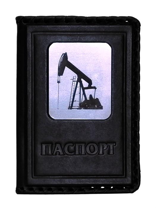 """Кожаная обложка на паспорт """"Нефть-2"""", цвет черный"""