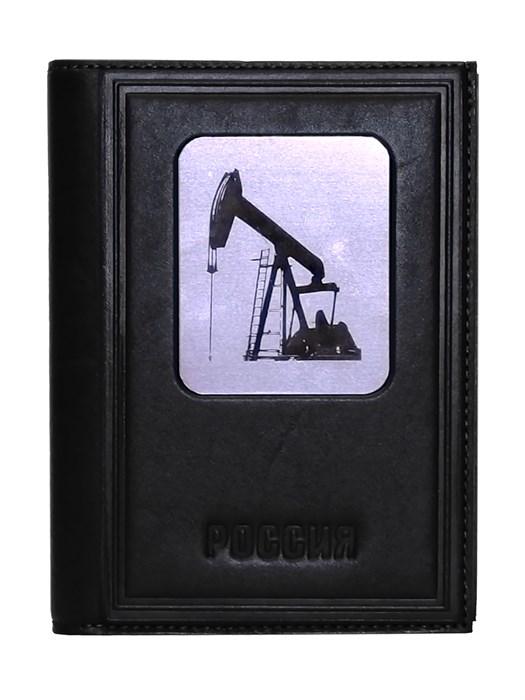 """Кожаная обложка для документов три в одном """"Нефть-3"""", цвет черный - фото 313861"""