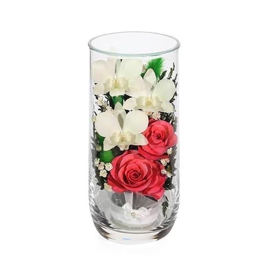 """Цветы в стекле """"Фанфары"""" композиция из роз и орхидей (арт. CSM2) в подарочной упаковке"""