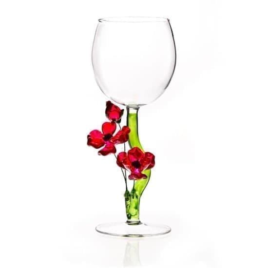 """Винный бокал из стекла ручной работы """"Маки"""""""