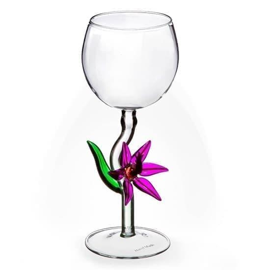 """Винный бокал из стекла ручной работы """"Элегантный цветок"""""""