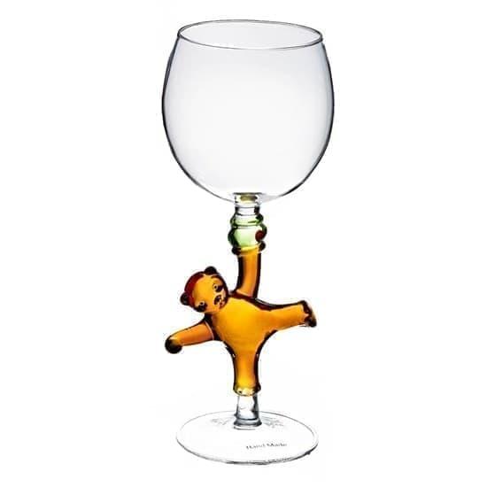 """Винный бокал из стекла ручной работы """"Мишка"""""""