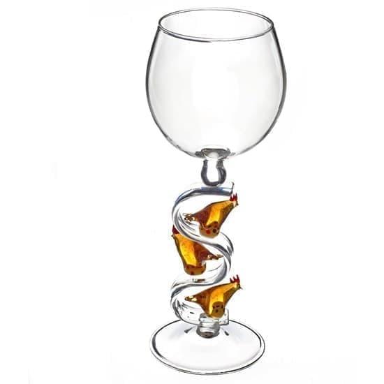 """Винный бокал из стекла ручной работы """"Три курочки"""""""