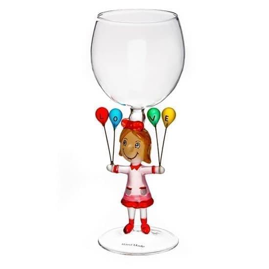 """Винный бокал из стекла ручной работы """"Жизнь прекрасна"""""""