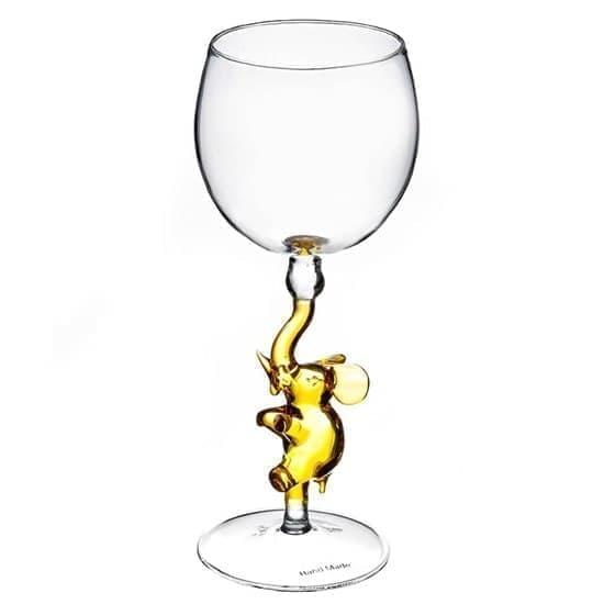 """Винный бокал из стекла ручной работы """"Слоненок"""""""