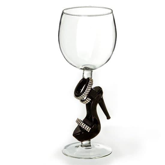 """Винный бокал из стекла ручной работы """"Босоножка с кристаллами"""""""