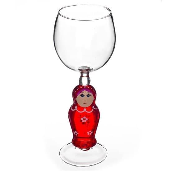 """Винный бокал из стекла ручной работы """"Матрешка"""""""