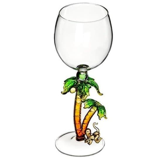 """Винный бокал из стекла ручной работы """"Обезьяна под пальмами"""""""