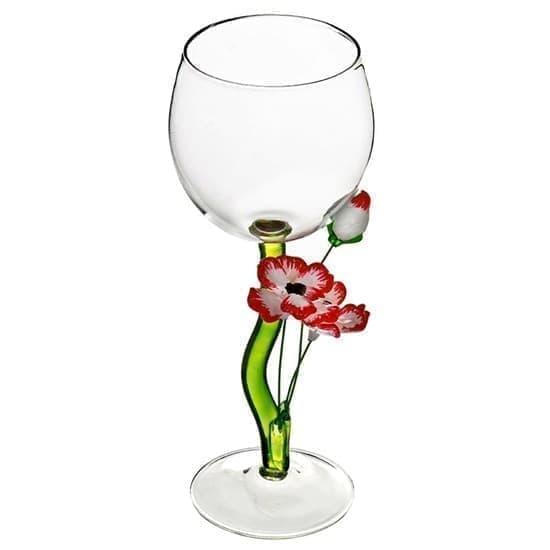 """Винный бокал из стекла ручной работы """"Нарядные маки"""""""