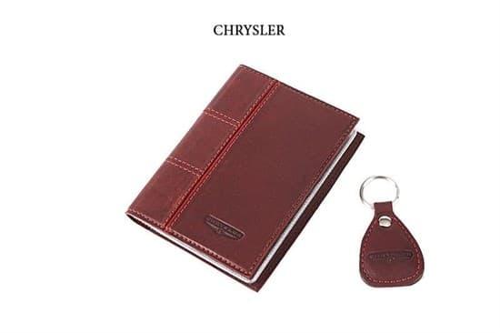 """Кожаная обложка для водительского удостоверения с брелком """"CHRYSLER"""""""