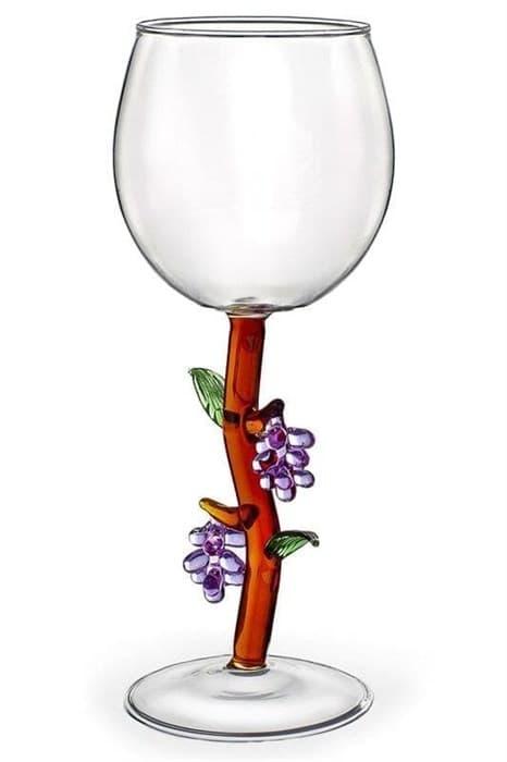 """Винный бокал из стекла ручной работы """"Цветущий виноград"""""""
