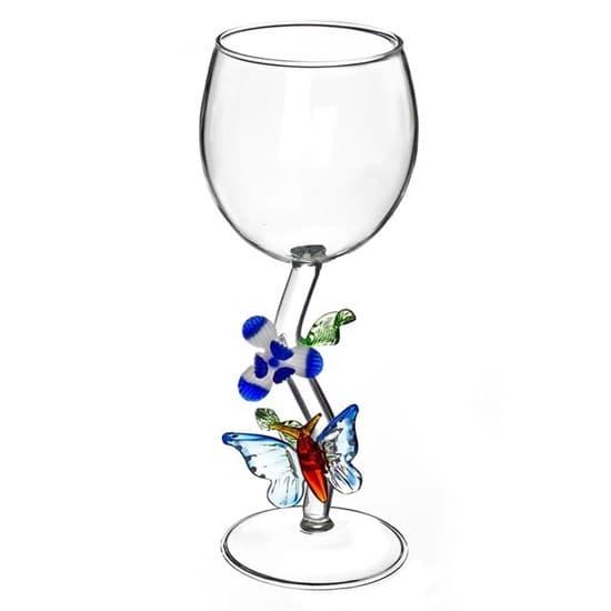 """Винный бокал из стекла ручной работы """"Бабочка с цветком"""""""