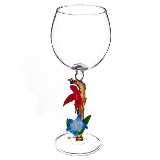 """Винный бокал из стекла ручной работы """"Птица счастья"""""""