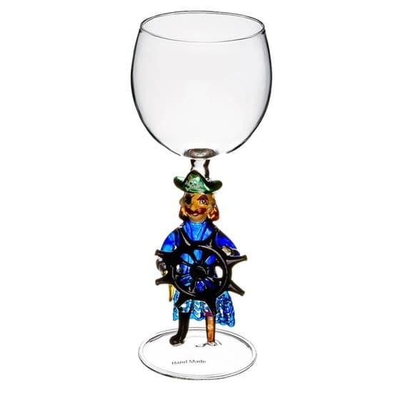 """Винный бокал из стекла ручной работы """"Пират"""""""