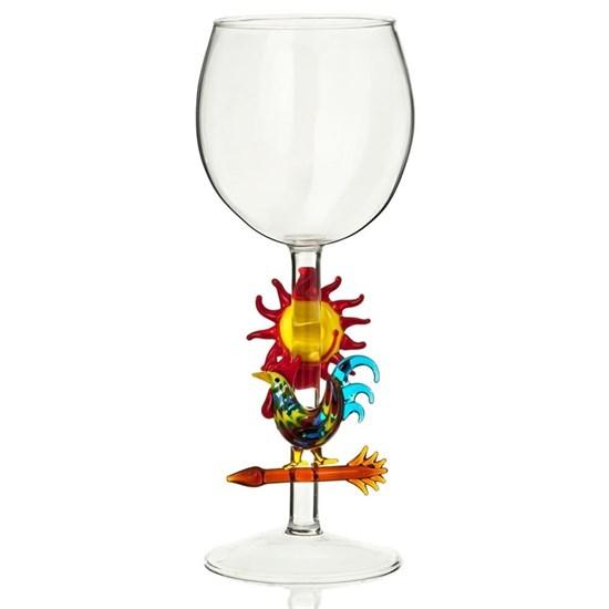 """Винный бокал из стекла ручной работы """"Петух"""""""