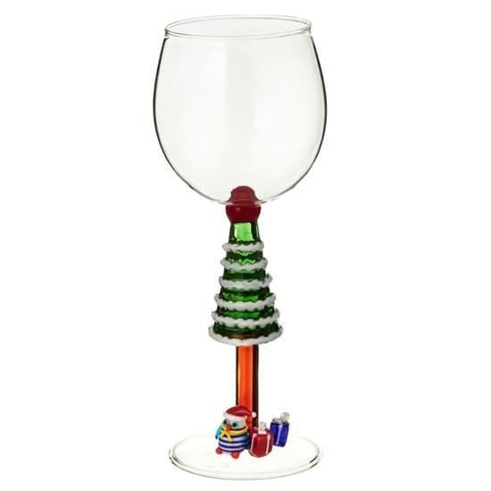 """Новогодний бокал из стекла ручной работы """"Ель с подарками"""""""