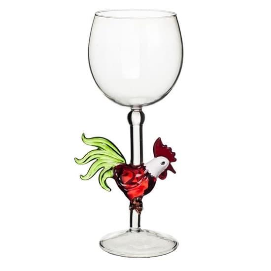 """Винный бокал из стекла ручной работы """"Огненный петух"""""""