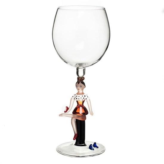 """Винный бокал из стекла ручной работы """"Девушка с туфелькой"""""""