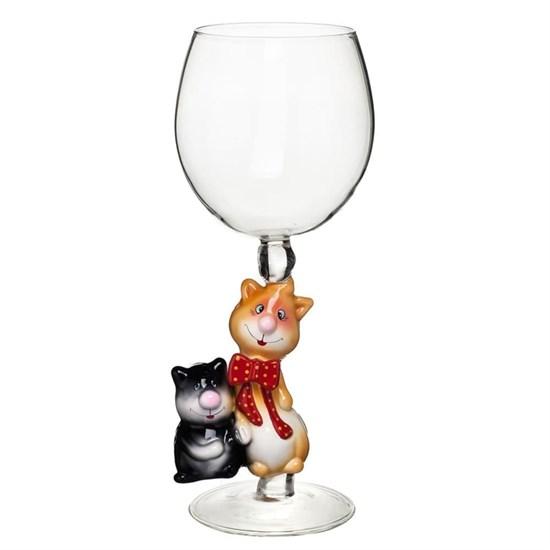 """Винный бокал из стекла ручной работы """"Веселые коты"""""""
