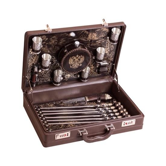 """Набор подарочный для пикника """"Гранд"""" в кожаном чемодане, 6 персон"""