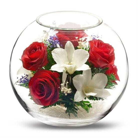 """Цветы в стекле """"Прихоть"""" композиция из роз и орхидей"""