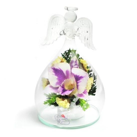 """Цветы в стекле """"Ангел"""" композиция из орхидеи"""
