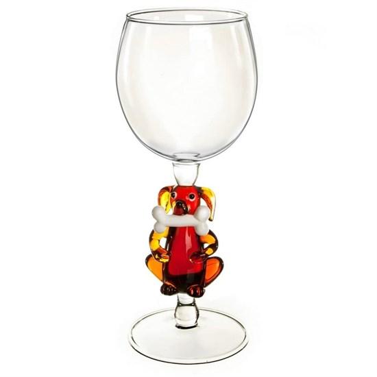 """Винный бокал из стекла ручной работы """"Собака с косточкой"""""""