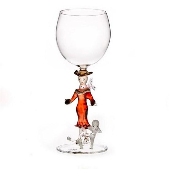 """Винный бокал из стекла ручной работы """"Дама с собачкой"""""""