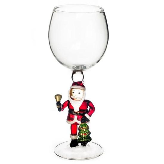 """Новогодний бокал из стекла ручной работы """"Дед Мороз с колокольчиком"""""""