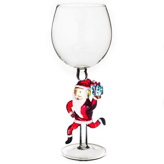 """Новогодний бокал из стекла ручной работы """"Дед Мороз спешит поздравить"""""""