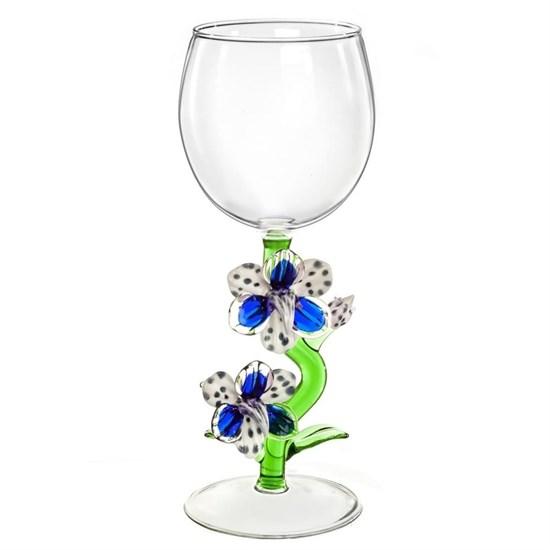 """Винный бокал из стекла ручной работы """"Орхидея"""""""