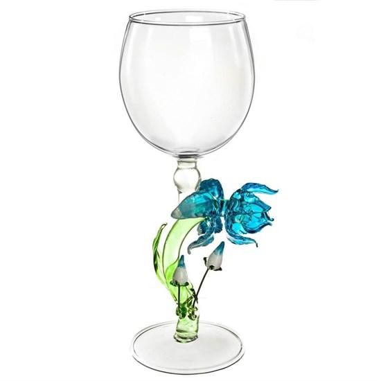 """Винный бокал из стекла ручной работы """"Ирис с ростками"""""""