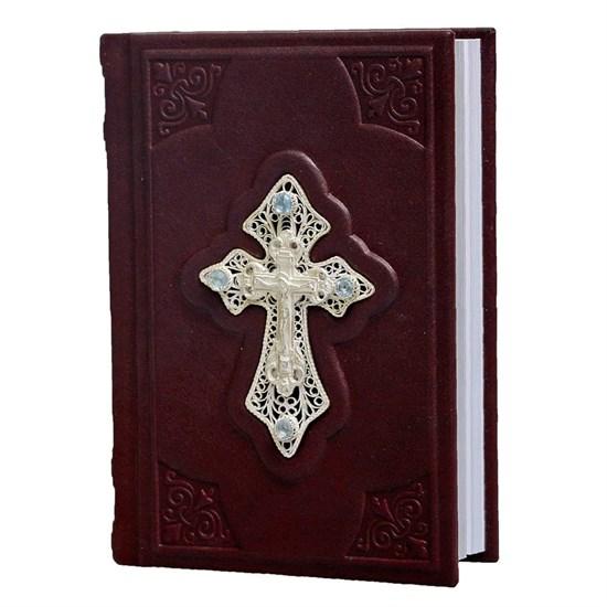 Православный молитвослов в кожаном переплете с крестом, филигранью (серебро) и топазами