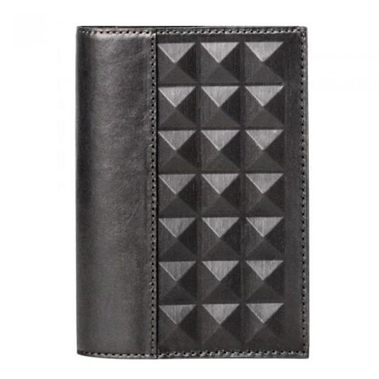 Обложка для документов «Геометрия» из натуральной кожи, черная