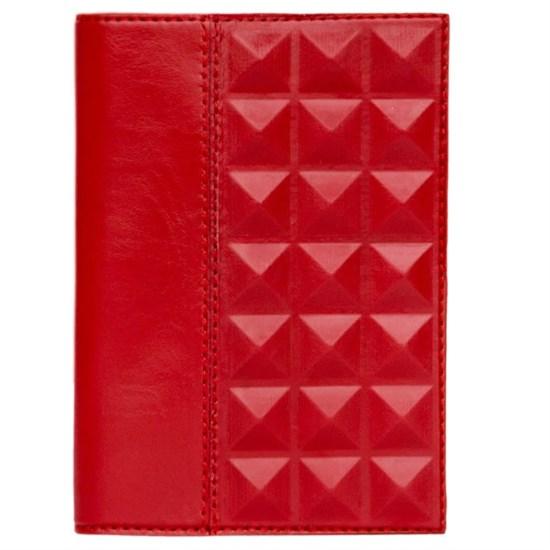 Обложка для паспорта «Геометрия» из натуральной кожи, красная