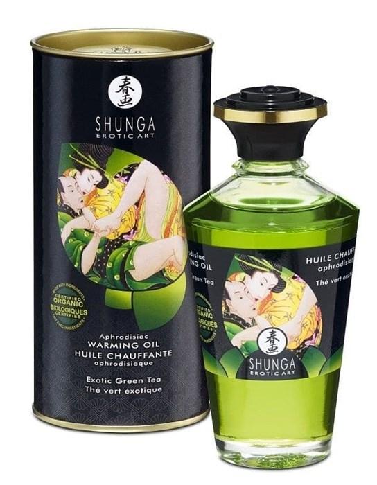 """Массажное масло """"Интимные поцелуи"""" Shunga Aphrodisiac oil Green Tea Organic (Зеленый чай), 100 мл"""