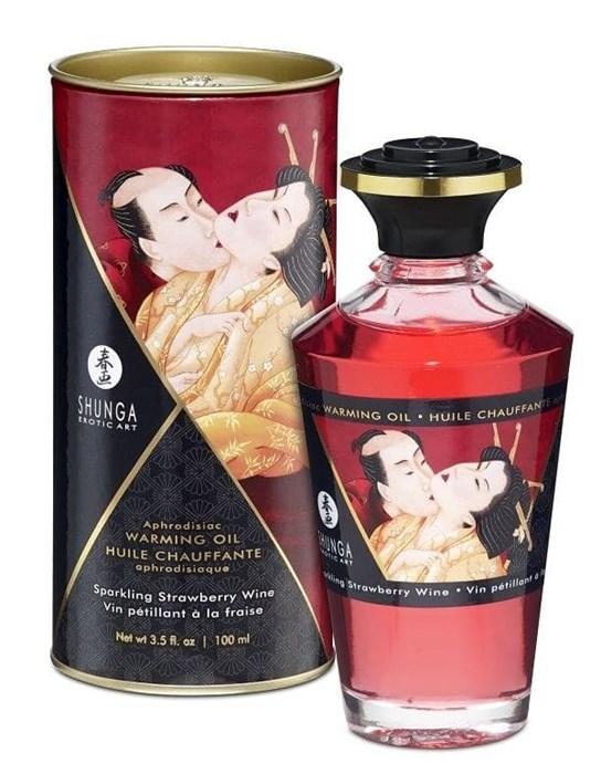 """Возбуждающее масло Shunga  """"Интимные поцелуи"""" с ароматом клубничного вина, 100 мл"""