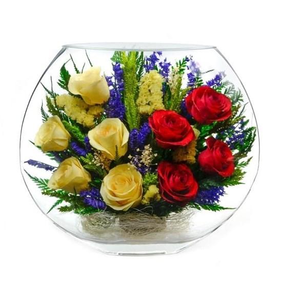 """Цветы в стекле """"Электра"""" композиция из натуральных роз (арт. EMR5c-03)"""