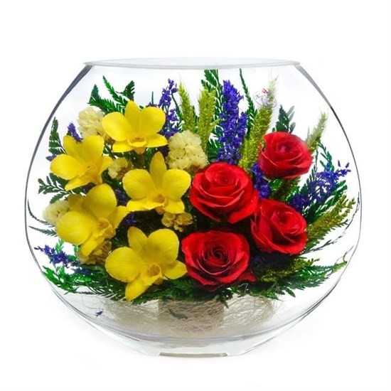 """Цветы в стекле """"Медовик"""" композиция из натуральных роз"""