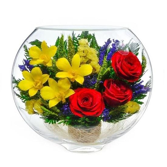 """Цветы в стекле """"Золото"""" композиция из натуральных роз"""