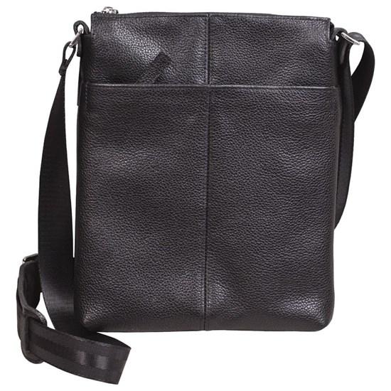 Сумка-планшет мужская из натуральной черной кожи с наплечным ремнем - фото 45823
