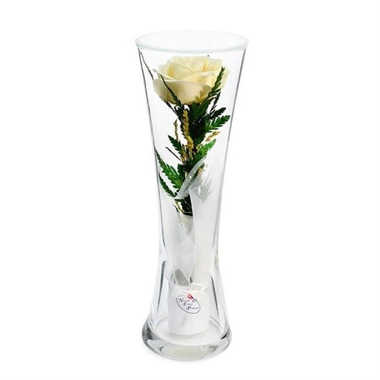 """Цветы в стекле """"Звезда"""" композиция из кремовой розы"""