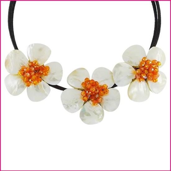"""Колье """"Белые цветы"""" с перламутром и цирконом"""