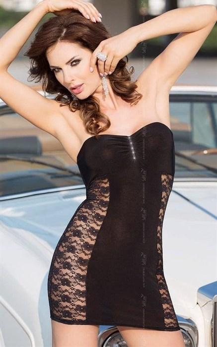 Платье без бретель со стразами на бюсте и кружевными боками - фото 69469
